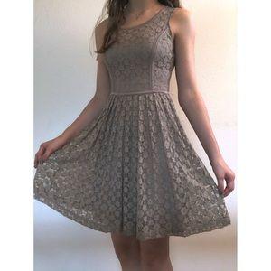 Lauren Conrad sleeveless brown lace mini dress